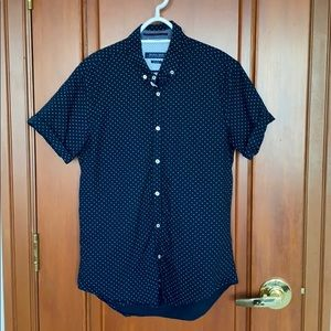 Navy Blue Printed Button Down Short Sleeve